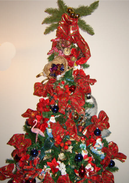 Decorated Royal Tropical Santa Christmas Tree
