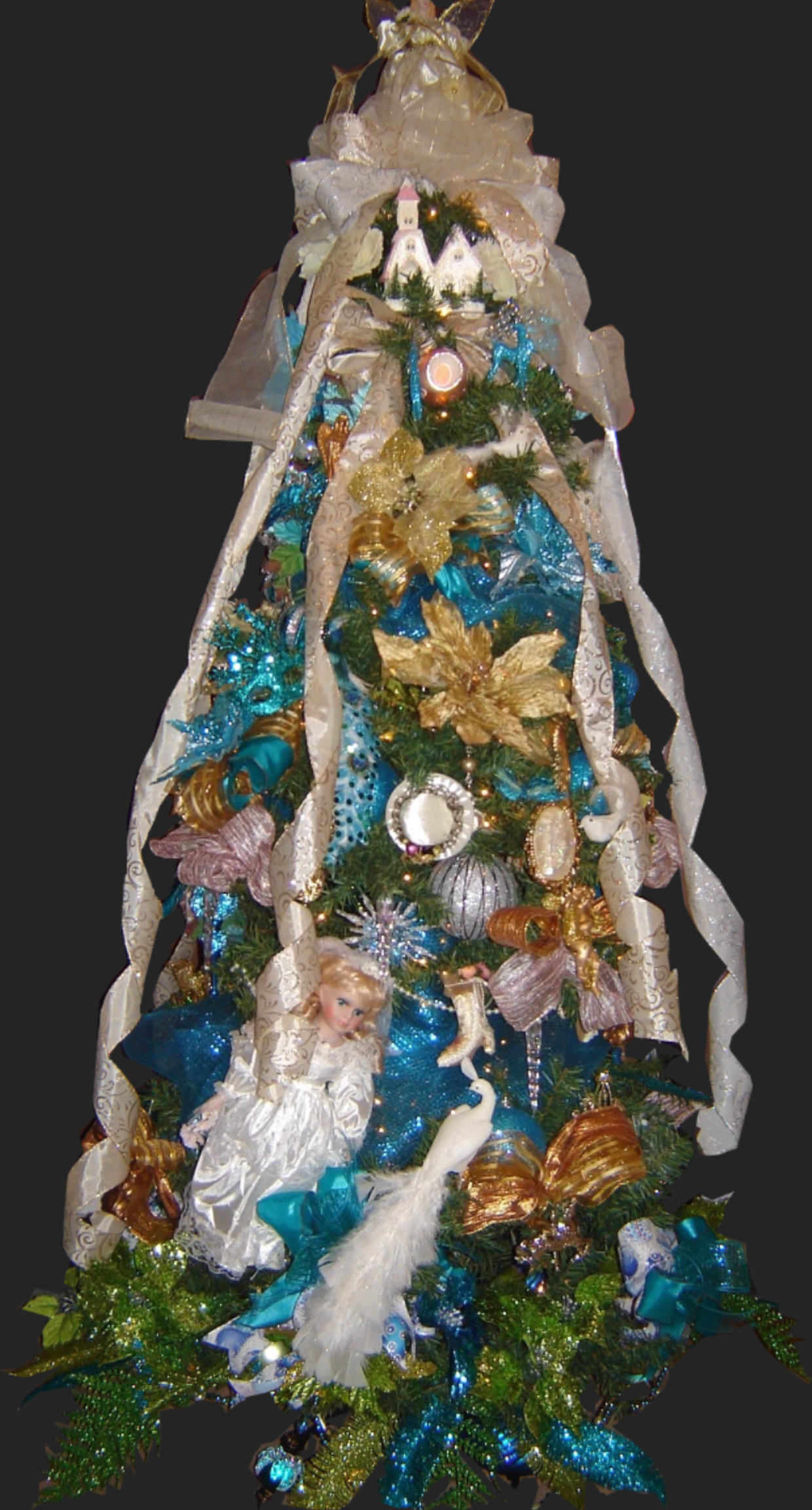 Blue Victorian Christmas Tree